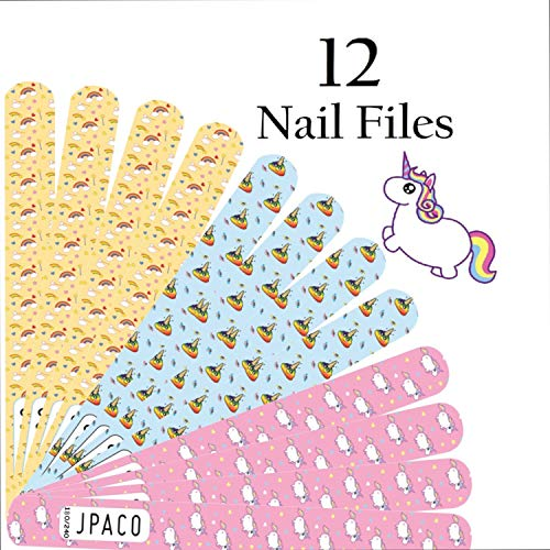- JPACO 12 PCS Professional Unicorn Nail Files 180 240 Grit Double Sided Washable Manicure