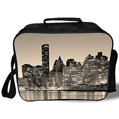 New York 3D Print Insulated Lunch Bag,Manhattan Skyline at Night East River Panoramic Famous City Urban Life in USA Decorative,for Work/School/Picnic,Sepia Black