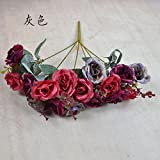 Artificial Flowers Yiting Single rose silk flower wedding decoration long 30cm, gray