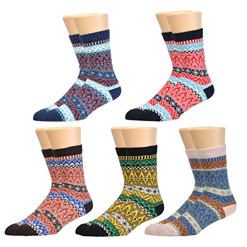 Wholesale Epeius Women's Vintage Colorful Striped/Wave/Check Thick Knit Crew Socks 5 Pack free shipping