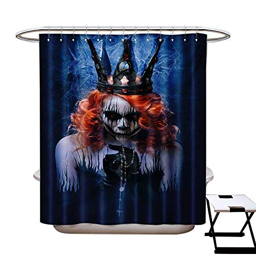 Queen Shower Curtain Customized Queen of Death Scary Body Art Halloween Evil Face Bizarre Make Up Zombie Bathroom Accessories W72 x L84 Navy Blue Orange -