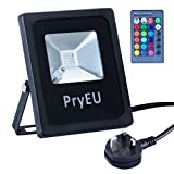 Pryeu Outside Coloured LED Spot Security Flood Lights 10W RGB Colour Changing Floodlight Remote Control Waterproof with UK Plug for Garden Party Mood Lighting Uplighting Xmas Tree