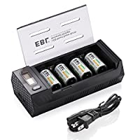 EBL C Rechargeable Batteries (4 Pack) with Upgraded AA AAA C D 9V Battery Charger with 2 USB Port