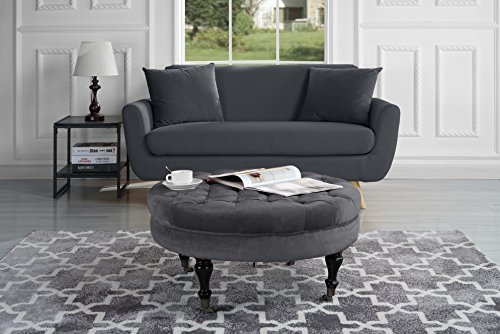 Divano Roma Furniture – Round Tufted Velvet Coffee Table with Casters, Ottoman with Wheels (Grey)