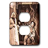 3dRose Scenes from the Past - Magic Lantern - Vintage Comic Pub Scene Pay Today and Trust Tomorrow Funny - Light Switch Covers - 2 plug outlet cover (lsp_300334_6)