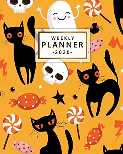 Art Marble 21 Halloween (Weekly Planner 2020: Weekly Daily Spread Views with To-Do's, Funny Holidays & Inspirational Quotes, Vision Boards & Notes   2020 Organizer, Schedule ... Diary   Funny Halloween Cats and Skulls)