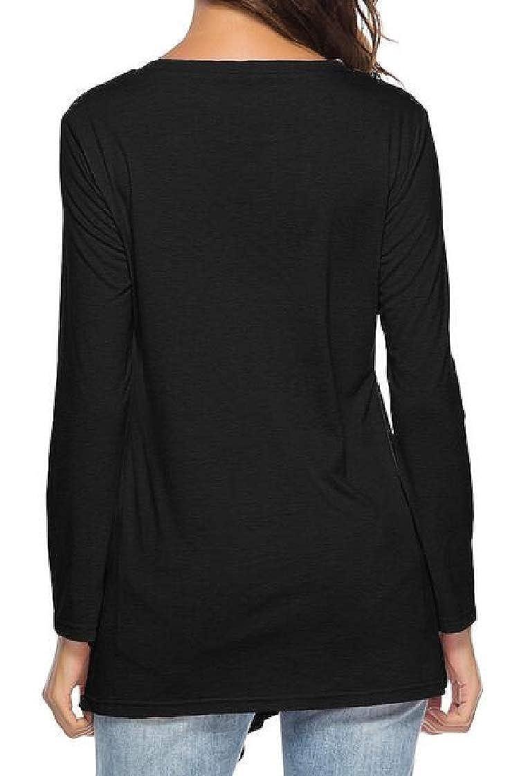Etecredpow Womens Tunic Long-Sleeve O-Neck Vogue T-Shirts Top