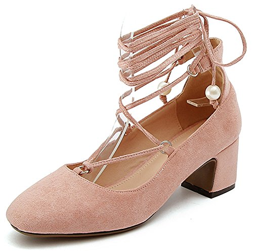 IDIFU Womens Stylish Self-Tie Faux Suede Square Toe Low Top Bridal Pumps For Wedding Pink Vlyia05