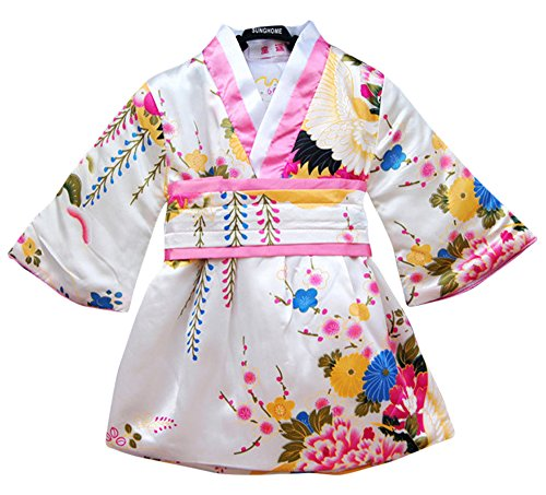 FANCYKIDS Japanese Girls Toddler Baby Kimono Robe Dress Outfit Costume (5 to 6 Years Old, White)