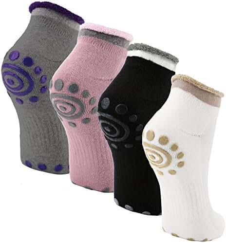 Reehut Non-Slip Skid Yoga Socks w/ Grip for Exercise, Training, Workout, Fitness & Pilates
