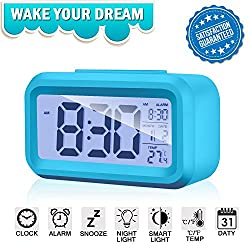 Alarm Clock Digital Large LCD Display Battery Operated Modern Portable Morning Sensor Smart Snooze Back-light Multi-function Clock Time Date Month Temperature for Office Bedroom Dormitory (blue)