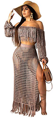 MONASAMA Women Hollow Out Off Shoulder Fishnet Crop Top + Maxi Side Split Skirt 2 Piece Tassels Outfits Coffee 3XL