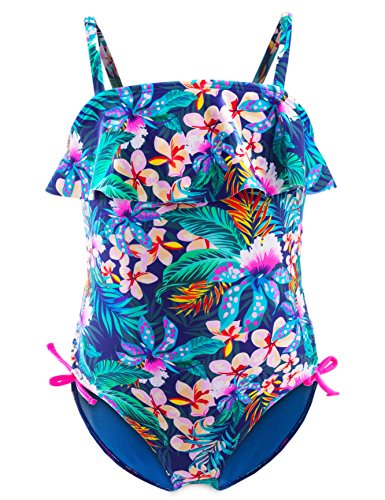 IKALI Girls One-Piece Swimsuit, Ruffle Tropical Floral Swimwear, Beach Bathing Suit for Toddler (3-9Y)