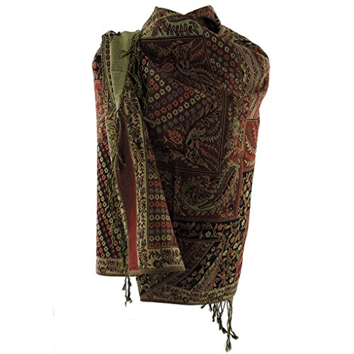 Silver Fever Pashmina - Jacquard Paisley Shawl - Stylish Scarf - Double Sided Wrap (Dark Red (Blend Scarf)