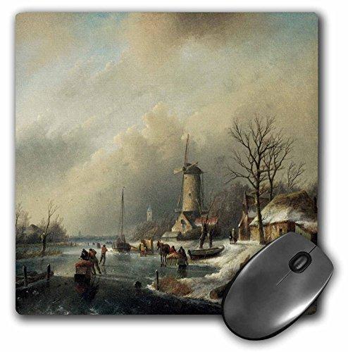 3dRose BLN Scenes of Winter Fine Art Collection - Winterlandschap met Figuren by Jan Jacob Spohler Windmill Landscape - MousePad (mp_175482_1) ()