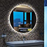 lighted tabletop clock - Bathroom Mirror Led Illuminated Round Lighted Makeup Lighting Vanity Cosmetic Wall Mounted Light Home Bedroom Touch Switch