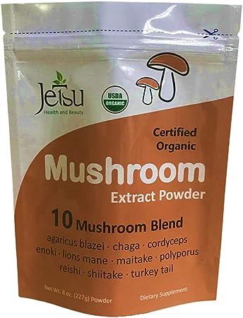 Mushroom Extract Powder - Powerful 10 Blend, Organic Lions Mane, Cordyceps, Reishi, Shiitake, Turkey Tail Mushrooms Nootropic Brain Supplement for Energy, Calm, Focus & Immune System Booster
