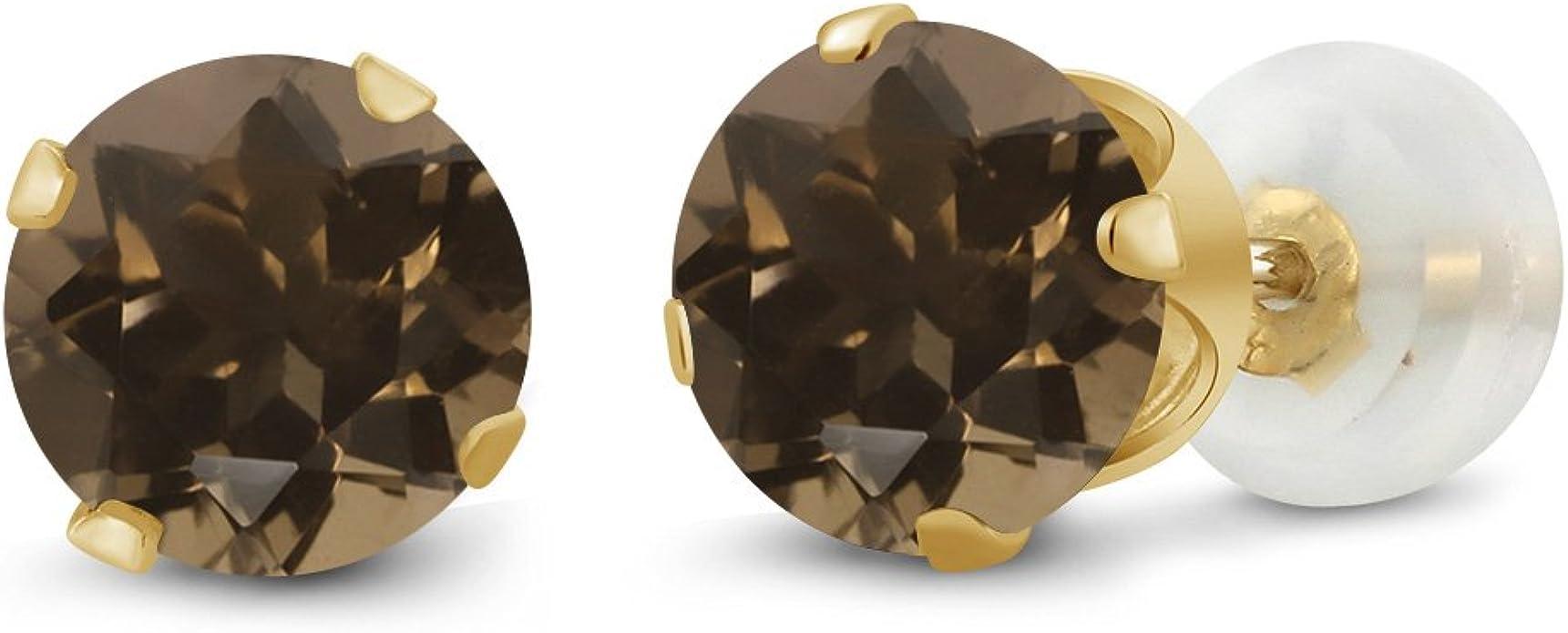 Natural Gemstones Earring Smoky Quartz Earrings 14k Gold Stud Earrings Smoky Quartz Earrings with Gold Setting Brown Stones Earrings