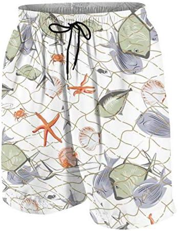 キッズ ビーチパンツ 魚 ヒトデ 海生物 網 サーフパンツ 海パン 水着 海水パンツ ショートパンツ サーフトランクス スポーツパンツ ジュニア 半ズボン ファッション 人気 おしゃれ 子供 青少年 ボーイズ 水陸両用