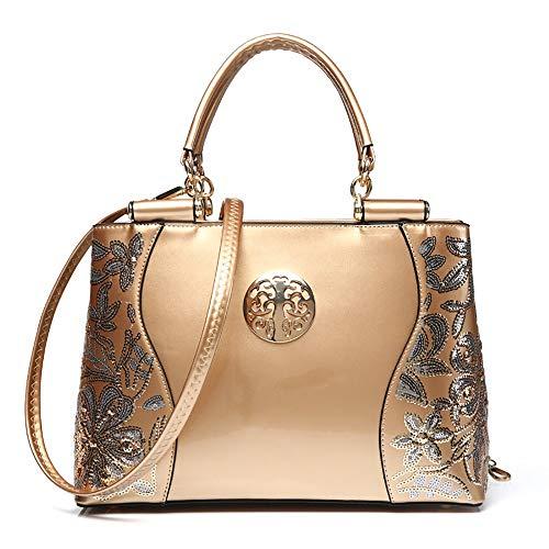 Épaule Cbca Main Ladies'handbag À Scintillant Sac En Avec Or Vers; Cuir wx0qTaPZ0B