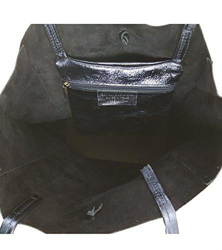 Lisa Freyfashion Azul Piel De Oscuro Made In Para Tela Italy Mujer Metalizado Bolso vxB0qvr
