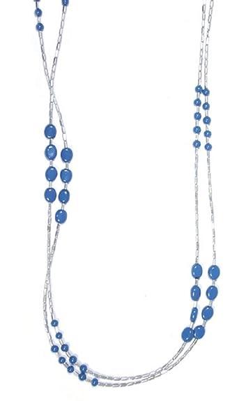 Sg Paris Bijoux Fantaisie Collier Sautoir 2 rangs L.120cm Métal argenté  Perle en verre