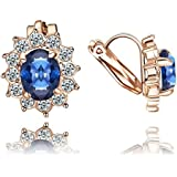 Yoursfs Clip-on Blue Red Green Purple Diamante Earrings for Women 18ct Rose Gold Plated Wedding Prom Party Fashion Jewellery--A SUITABLE ONE FOR YOU