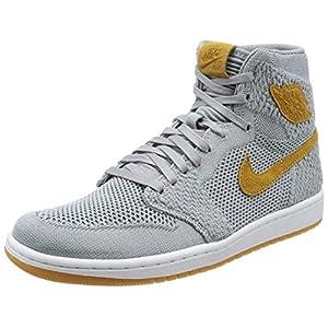 Jordan Nike Mens Air 1 High Flyknit Basketball Shoes Wolf Grey/Golden Harvest/Gum Yellow 919704-025 Size 10