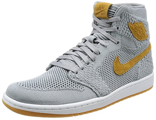 ee75d874b7f014 Galleon - Jordan Nike Mens Air 1 High Flyknit Basketball Shoes Wolf Grey Golden  Harvest Gum Yellow 919704-025 Size 9