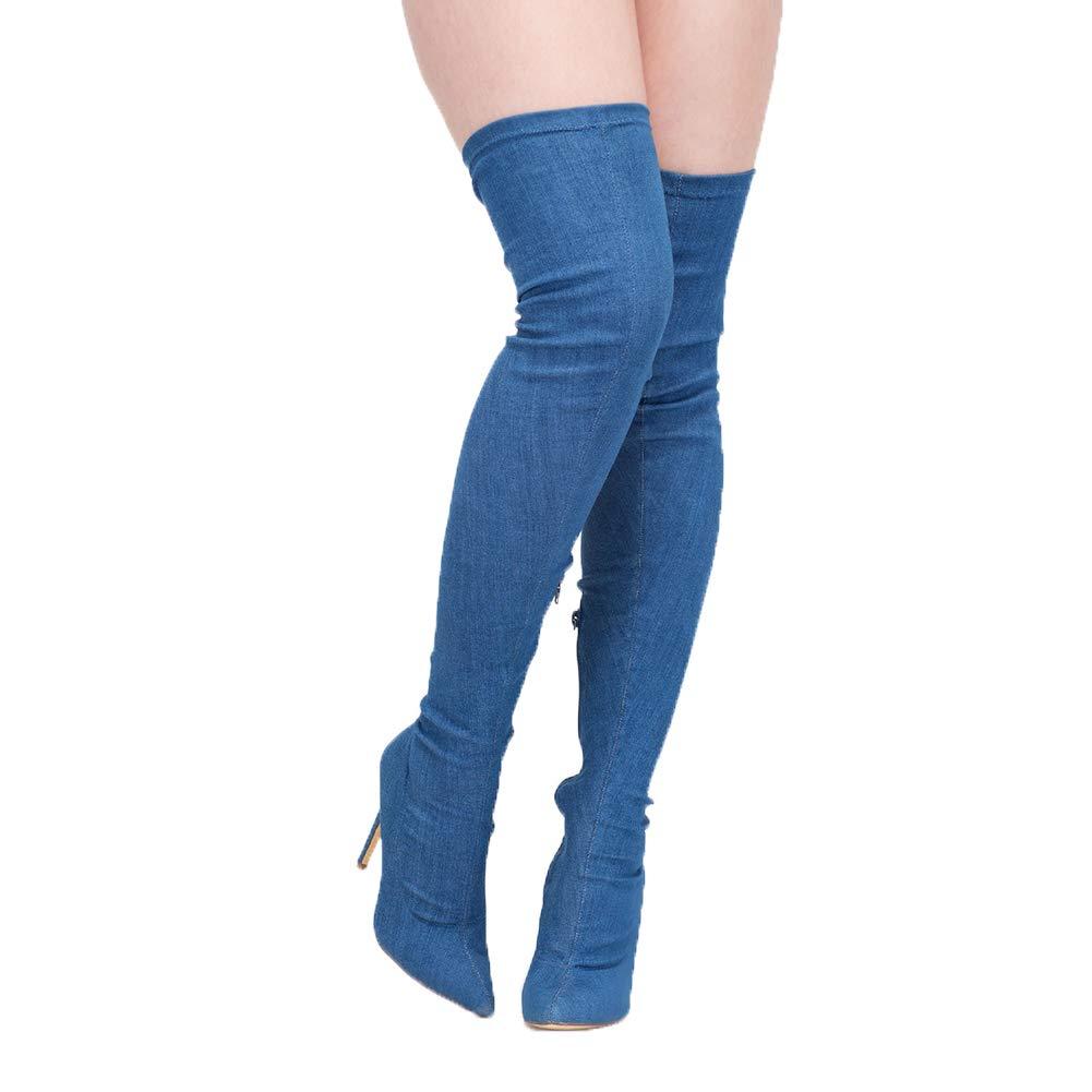 WHL.LL Frauen Cowboy Oberschenkelstiefel Spitze Seitlicher Reißverschluss Dicker High Heel Stiefel Elastische Kraft Cowboy Über Den Kniestiefeln (Absatzhöhe  12Cm)