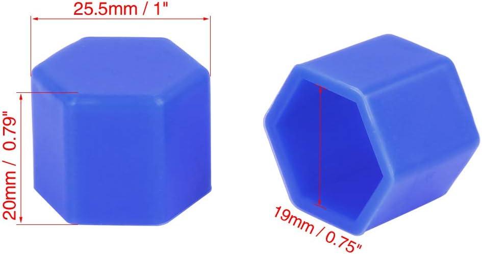 X AUTOHAUX 20pcs 19mm Bleu Silicone Voiture Roue /écrou Centre Couvertures Bouchons Anti-poussi/ères