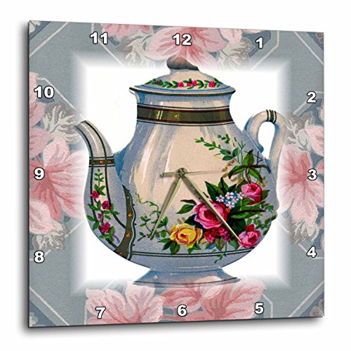 (3dRose dpp_37380_1 Victorian Flower Teapot on Blue/Pink Floral Background Wall Clock, 10 by 10-Inch)