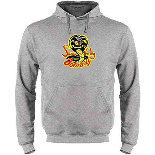 Sweep The Leg Johnny Cobra Kai Karate Kid 80s Heather Gray XL Mens Fleece Hoodie Sweatshirt -