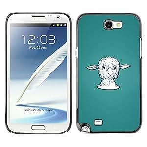 Be Good Phone Accessory // Dura Cáscara cubierta Protectora Caso Carcasa Funda de Protección para Samsung Note 2 N7100 // Lamb Head Portrait White Farming Animal