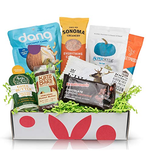 KETO Diet Snacks Starter Box: Assortment of Ketogenic Friendly Snacks - 4G of Net Carbs or Less - Great Keto Gift Baskets For Men and Women