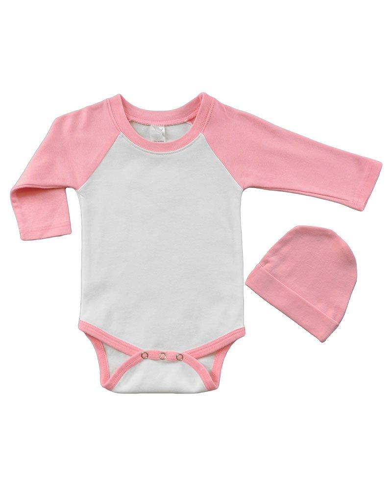 PandoraTees Long Sleeve Raglan Bodysuit and Cap Set, 6-12M White/Pink