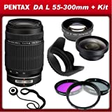 Pentax DA L 55-300mm f/4-5.8 ED Lens for For Pentax k-5, k5 ,k-r, kr k-x, kx and Samsung Digital SLR Cameras with 0.45x Wide Angle Macro Lens, 2x Telephoto Lens, 3 Piece Filter Kit (UV,CPL,FLD), Lens Hood and Lens Cap Keeper, Best Gadgets