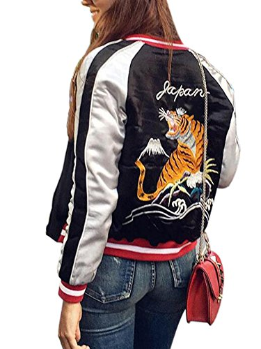 Embroidered Womens Jacket (Simplee Apparel Women's Tiger Embroidery Reversible Bomber Flight Jacket, 8/10,)