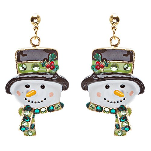 Crystal Rhinestone Holiday Happy Snowman Face Earrings