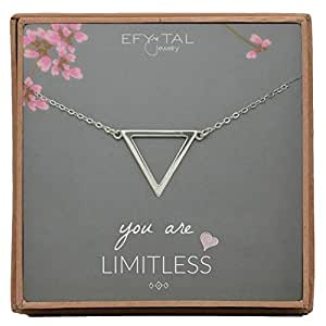 Efy Tal Jewelry The Grace & Strength Sterling Silver Upside Down Triangle Necklace on You Are Limitless Card, Grad Gift