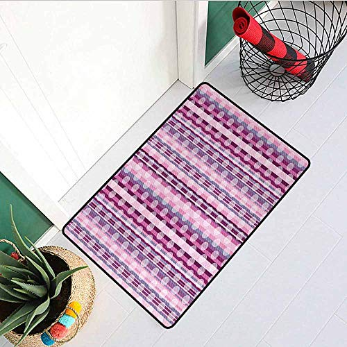 (GloriaJohnson Pink Welcome Door mat Stripes Lines with Abstract Round Circles Art Print Door mat is odorless and Durable W15.7 x L23.6 Inch Light Pink Purple Cadet Blue and Dried Rose)