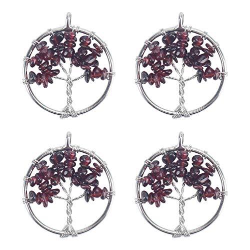 Wholesale 4 PCS Family Tree of Life Pendant Handmade Wire Wrapped Natural Garnet Quartz Chakra Bulk for Jewelry Making ()
