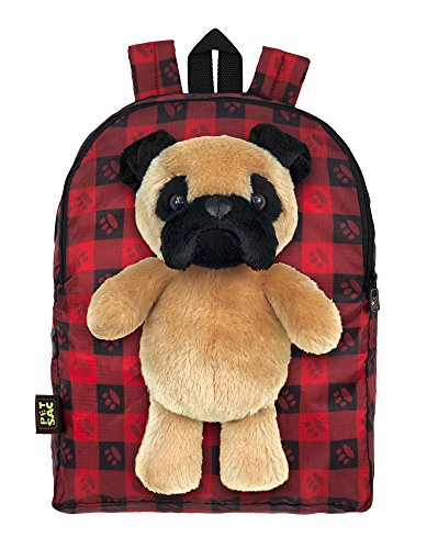 Plush Stuffed Pug Dog Toy Doll with Pull Out Backpack, Re...