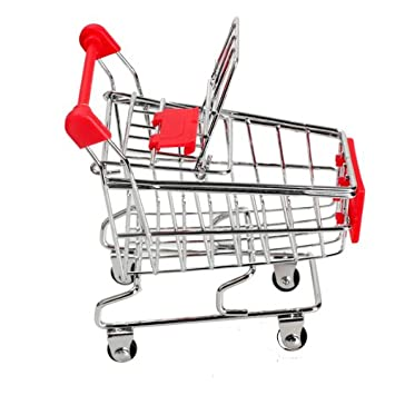 Amazon.com: Whitelotous Mini Supermarket Handcart Shopping Utility Cart Mode Storage Pink Gift: Office Products