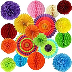 20 Item Party Decoration Supply Set - Pom Pom Fans Flowers Garland Favors for Mexican Fiesta, Cinco de Mayo, Carnival, Celebration, Birthday, BBQ Parties +Free Bucketlist Ultimate Party Guide