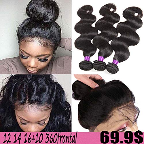 Indian Virgin Hair Body Wave 360 Lace Frontal Closure with Bundles Raw Indian Hair Body Wave with 360 Frontal Pre Plucked 360 Frontal with Bundles (12 14 16+10 360frontal, Natural Color) (Pre Plucked 360 Lace Frontal With Bundles)