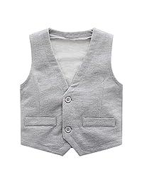 Sooxiwood Little Boys Vest Gentle Buttons V-Neck