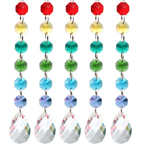 Crystal Beads Clear Chandelier Bead Lamp Crystal Beads Chain 7 Colors Chain with Rainbow Rhinestone 5 Pack