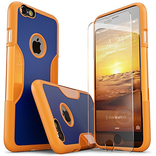 iPhone 6 Plus Case, 6s Plus SaharaCase Protective Kit + [Tempered Glass Screen Protector] Rugged Slim Fit Cover [Shock-Absorbing Reinforced Bumper] Scratch-Resistant Hard Back (Blue/Orange)