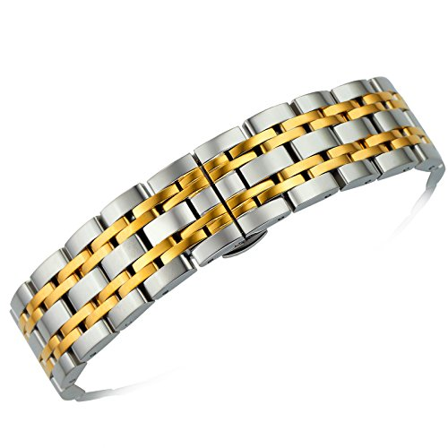 Wrist Two Watch Solid Tone (18mm Unisex Premium Solid Two Tone Silver and Gold Stainless Steel Wristwatch Bracelets Straight End Heavy Type Adjustable Size)